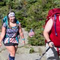 Renee and Adam arrive at the summit.