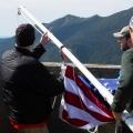 Assembling the flag.